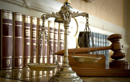 Law books, gavel, scale
